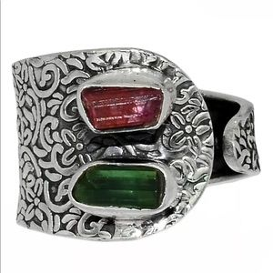 BOUTIQUE TOURMALINE 925 STERLING SILVER RING, 8.5